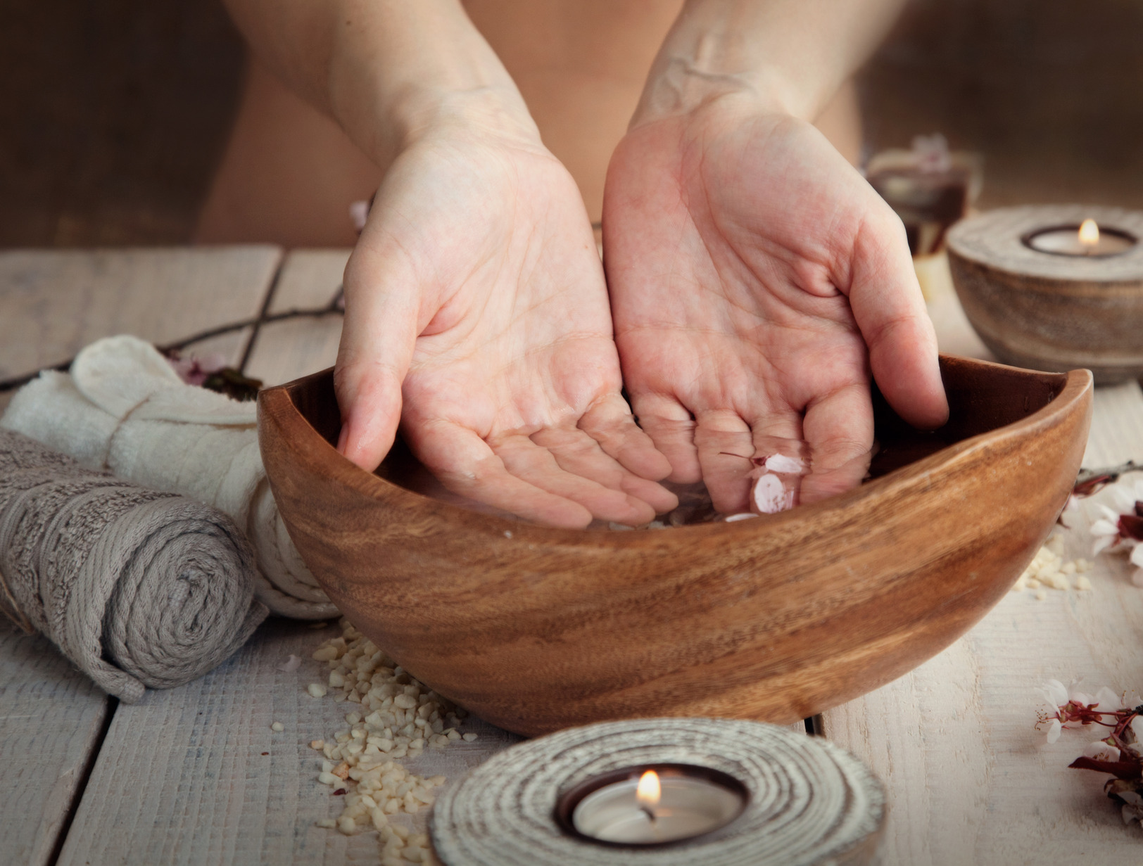 Natural spa manicure  setting